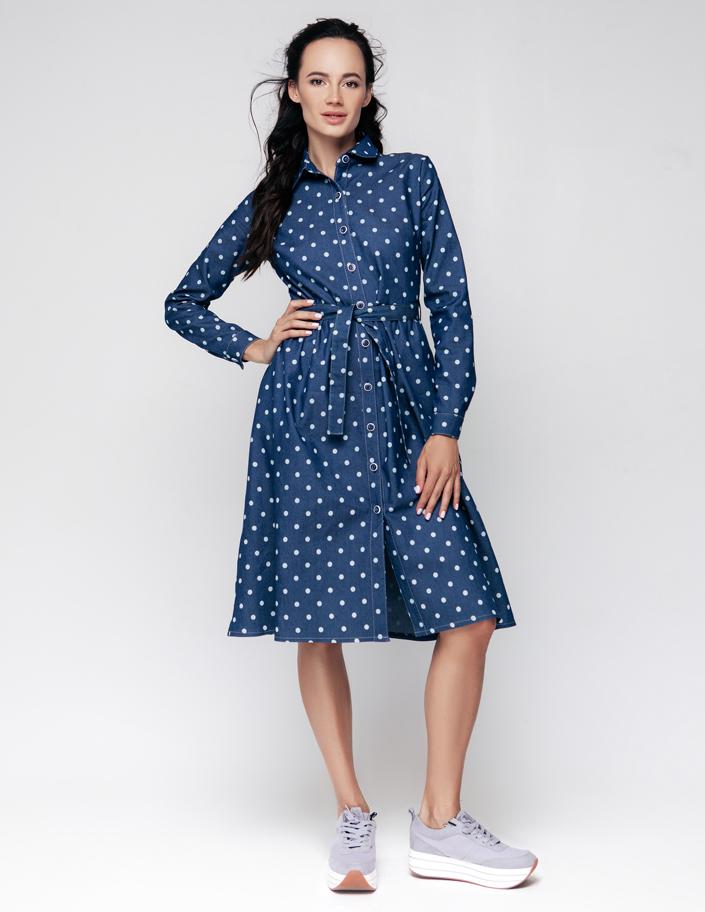e878c1c8ffc Купить платье-рубашка из денима в горох Киев