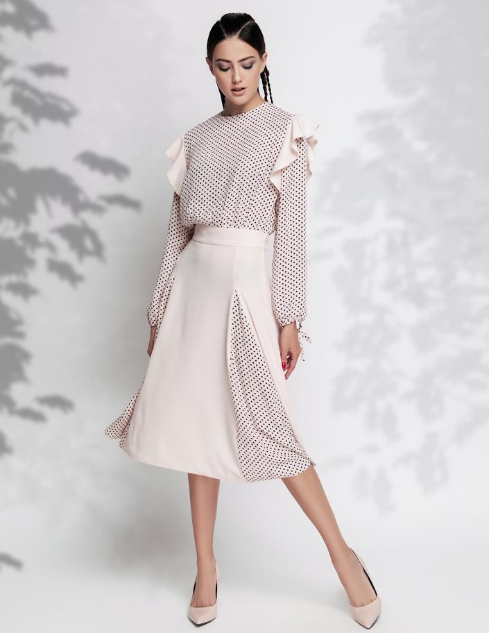 208cb724659 Купить платье комбинированное с шифоном в горох Киев