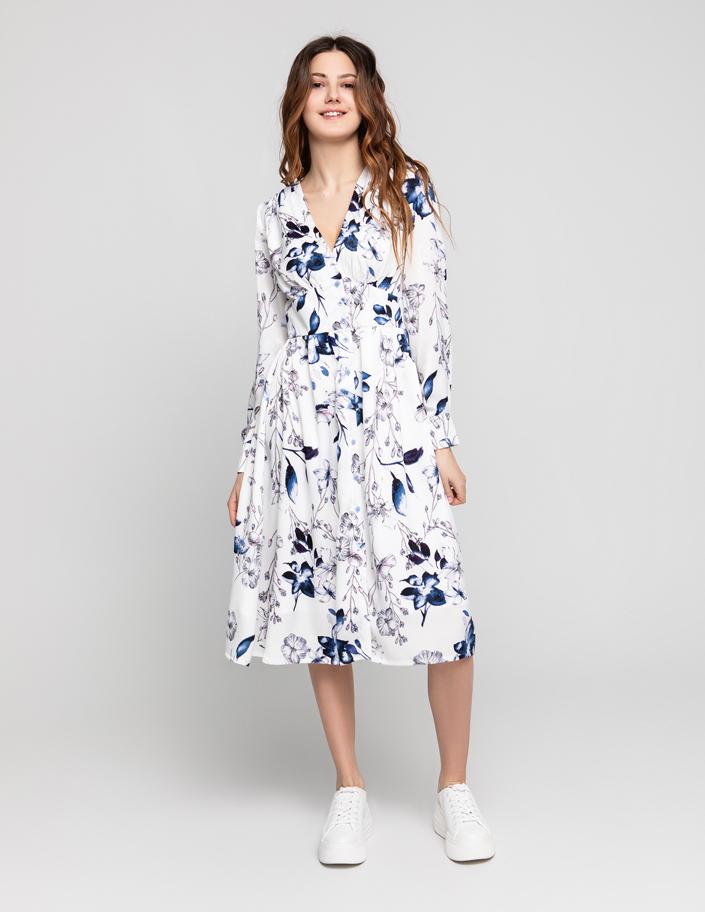 1f53baa1840 Платье миди на пуговицах белое в цветочный принт