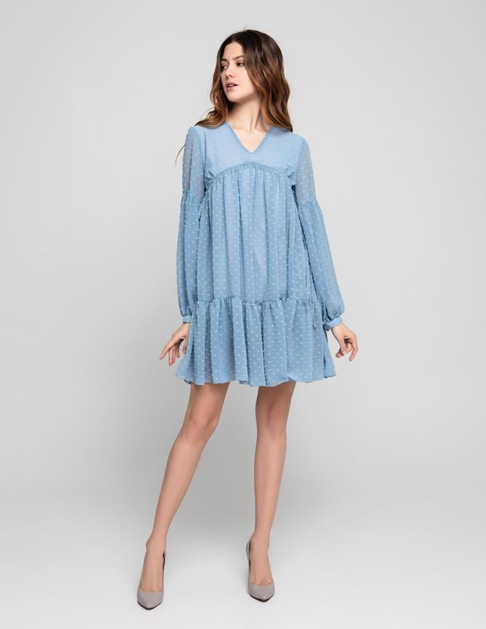 4c996f3b9e5 Платье свободного кроя из шифона с вышивкой плюмети голубое
