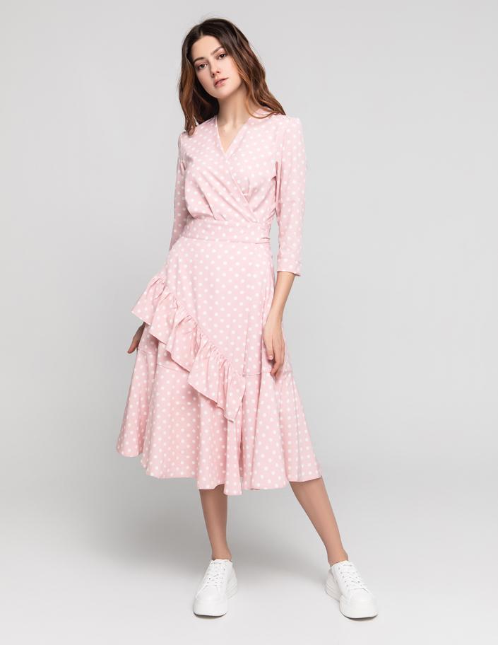aa69724d685 Платье миди на запах розовое в горох