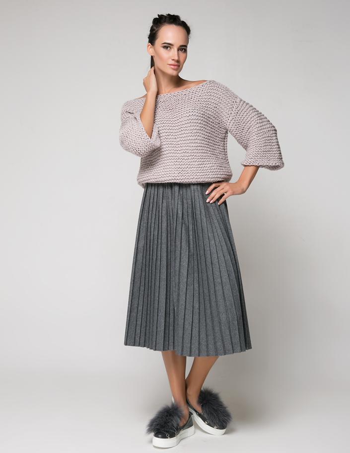 9a50fbcee9e Купить юбка-плиссе из шерсти темно-серая Киев