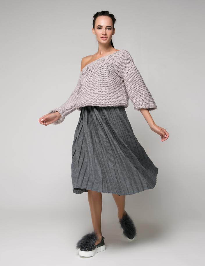 049c9459db4 Купить юбка-плиссе из шерсти темно-серая Киев