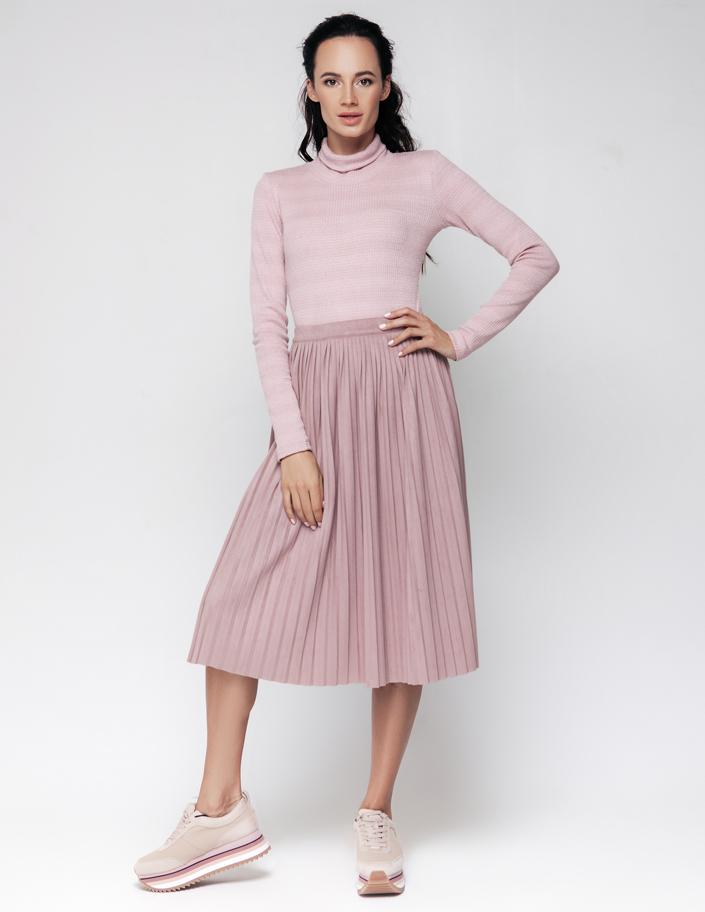 a5151dc4efb Купить юбка плиссе из замши пудрового цвета Киев